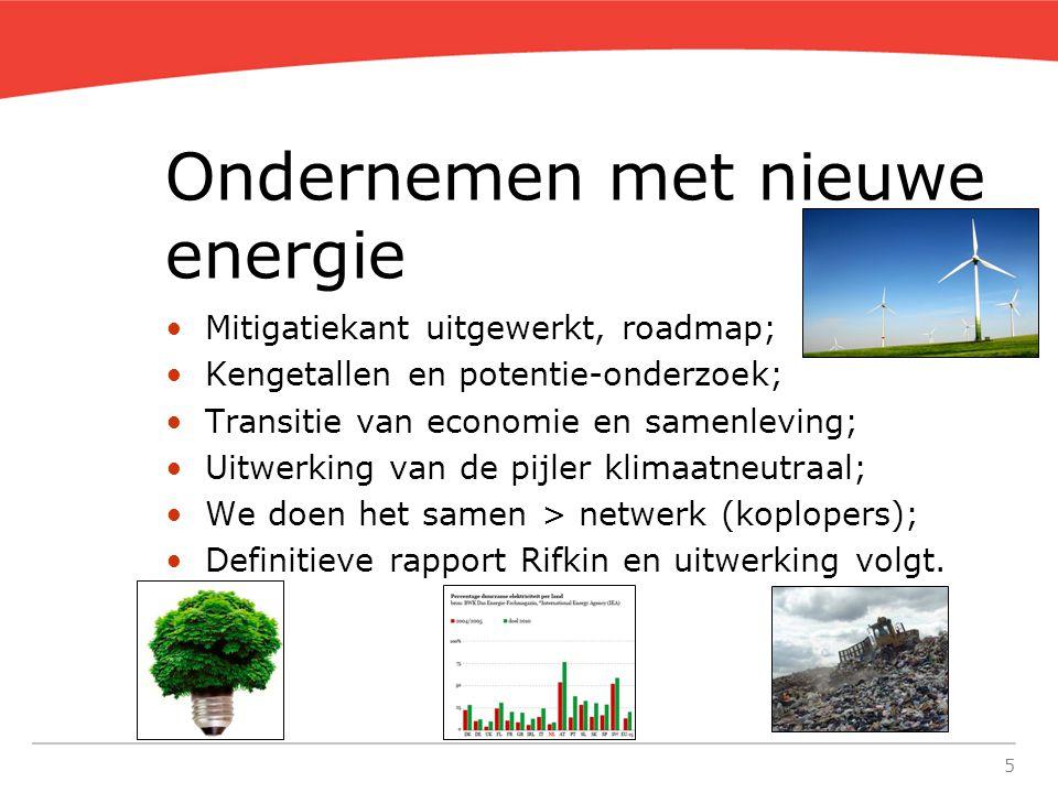 5 Ondernemen met nieuwe energie Mitigatiekant uitgewerkt, roadmap; Kengetallen en potentie-onderzoek; Transitie van economie en samenleving; Uitwerking van de pijler klimaatneutraal; We doen het samen > netwerk (koplopers); Definitieve rapport Rifkin en uitwerking volgt.
