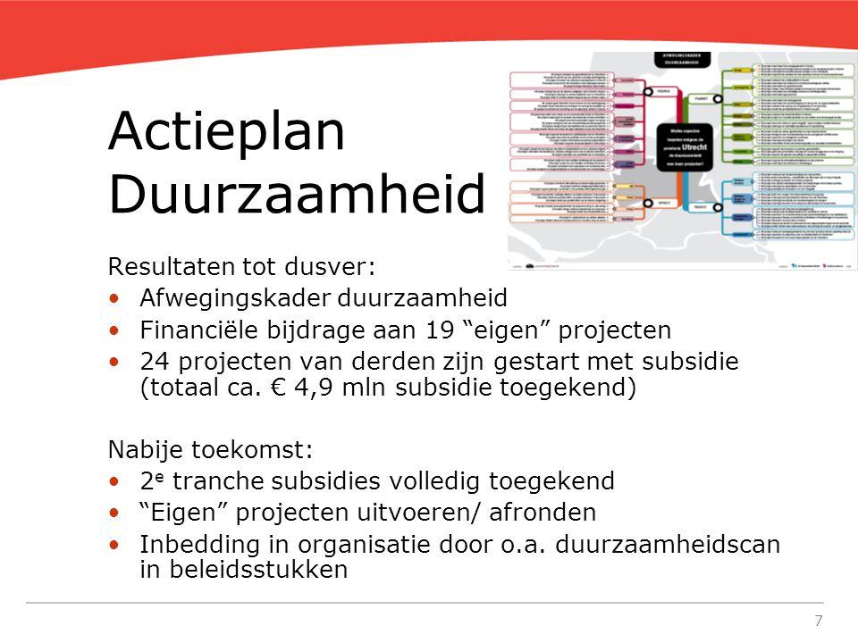 7 Actieplan Duurzaamheid Resultaten tot dusver: Afwegingskader duurzaamheid Financiële bijdrage aan 19 eigen projecten 24 projecten van derden zijn gestart met subsidie (totaal ca.