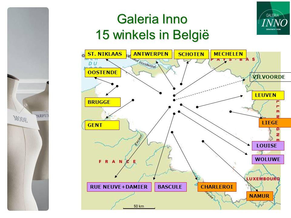 Galeria Inno 15 winkels in België SCHOTEN ANTWERPEN BRUGGE OOSTENDE GENT ST.