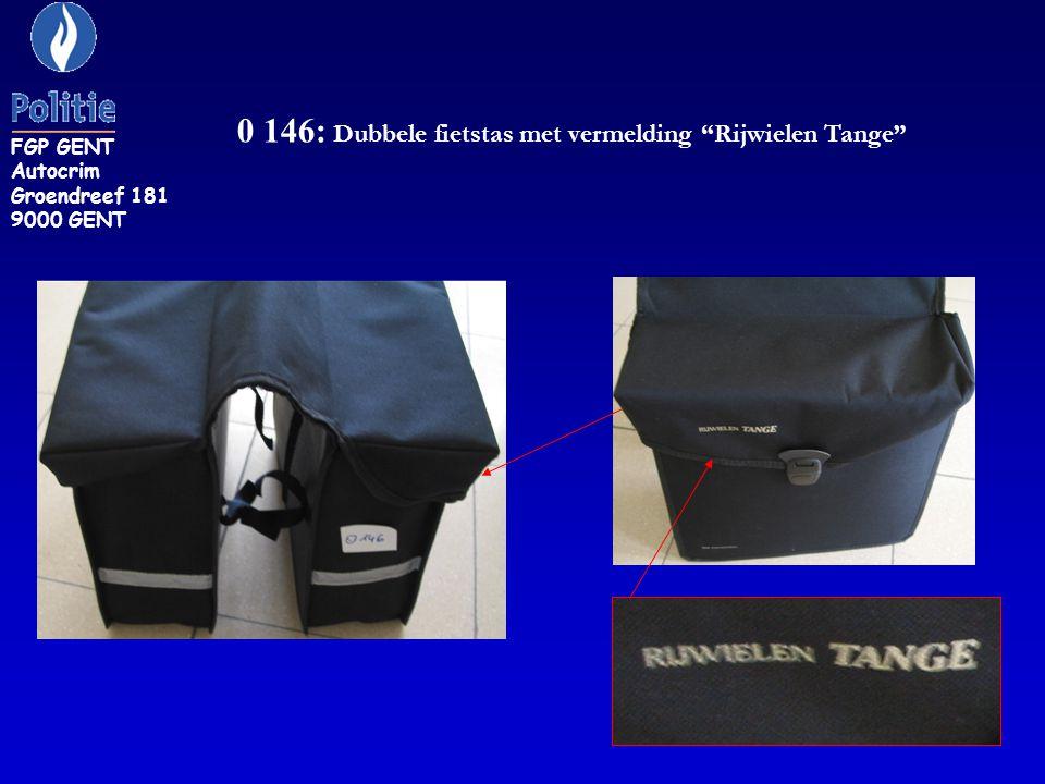 0 146: Dubbele fietstas met vermelding Rijwielen Tange FGP GENT Autocrim Groendreef 181 9000 GENT