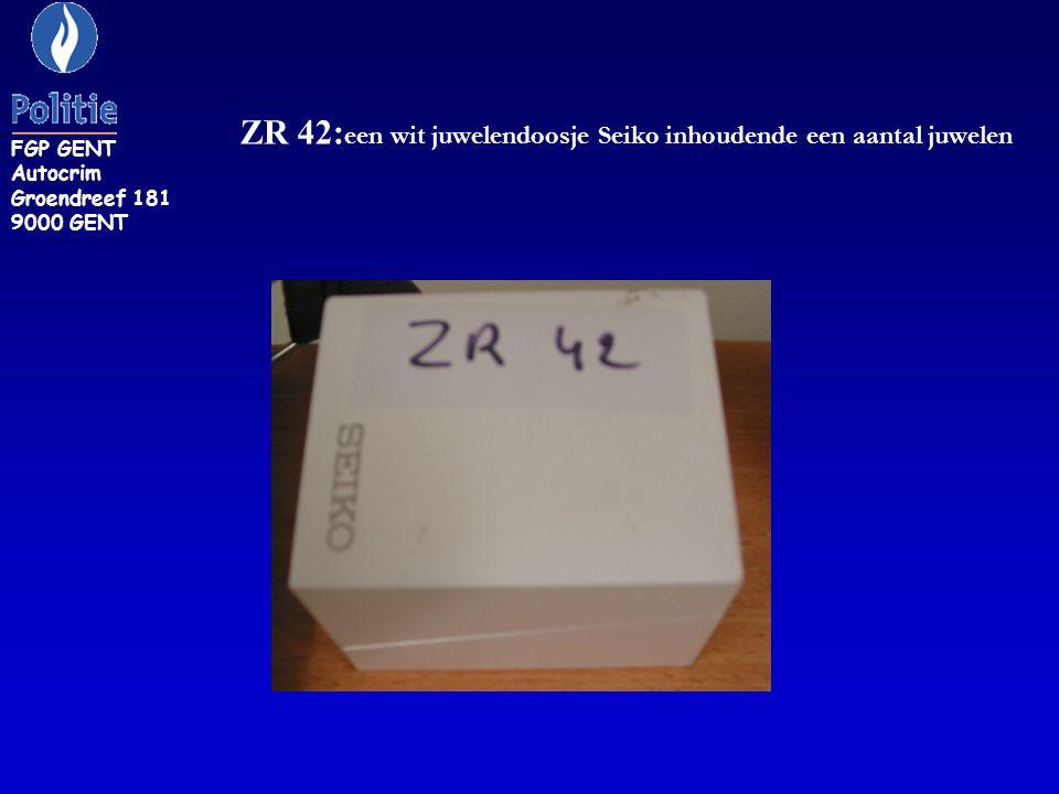 ZR 42: een wit juwelendoosje Seiko inhoudende een aantal juwelen FGP GENT Autocrim Groendreef 181 9000 GENT