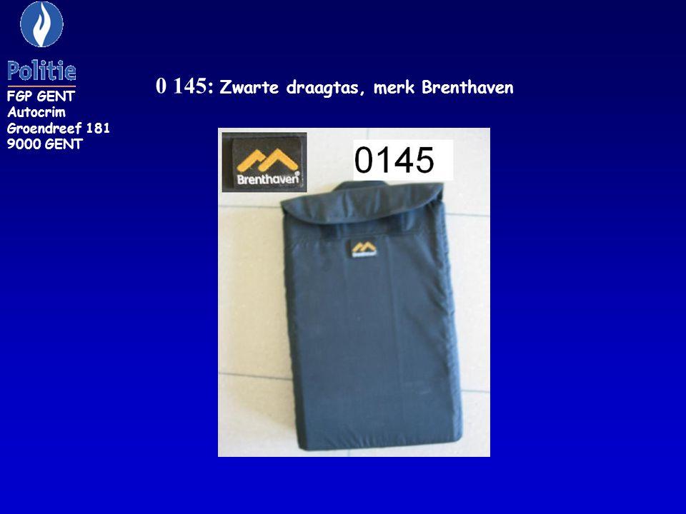 0 145: Zwarte draagtas, merk Brenthaven FGP GENT Autocrim Groendreef 181 9000 GENT