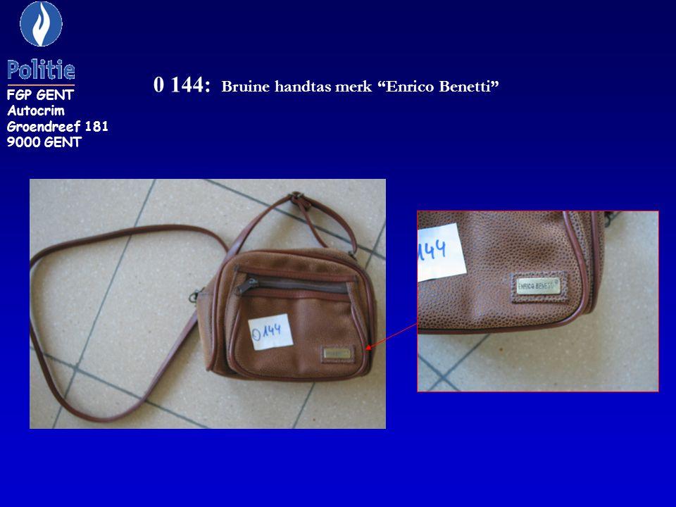 0 144: Bruine handtas merk Enrico Benetti FGP GENT Autocrim Groendreef 181 9000 GENT