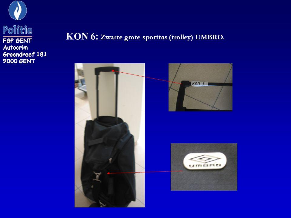 KON 6: Zwarte grote sporttas (trolley) UMBRO. FGP GENT Autocrim Groendreef 181 9000 GENT
