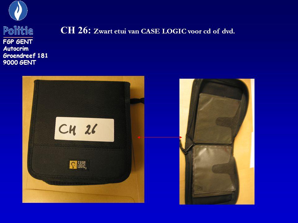 CH 26: Zwart etui van CASE LOGIC voor cd of dvd. FGP GENT Autocrim Groendreef 181 9000 GENT