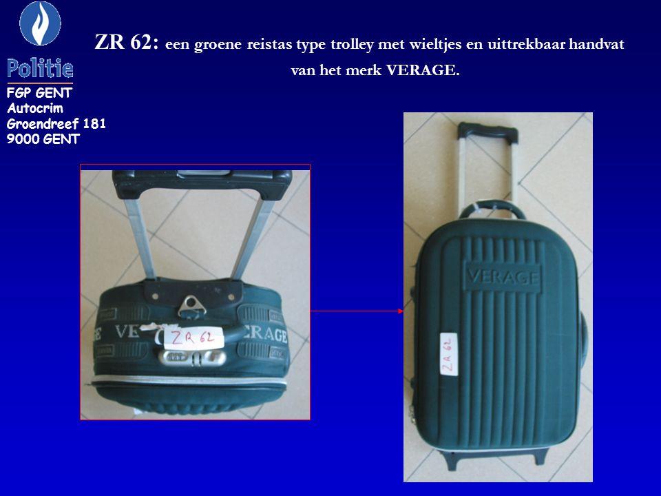 ZR 62: een groene reistas type trolley met wieltjes en uittrekbaar handvat van het merk VERAGE.