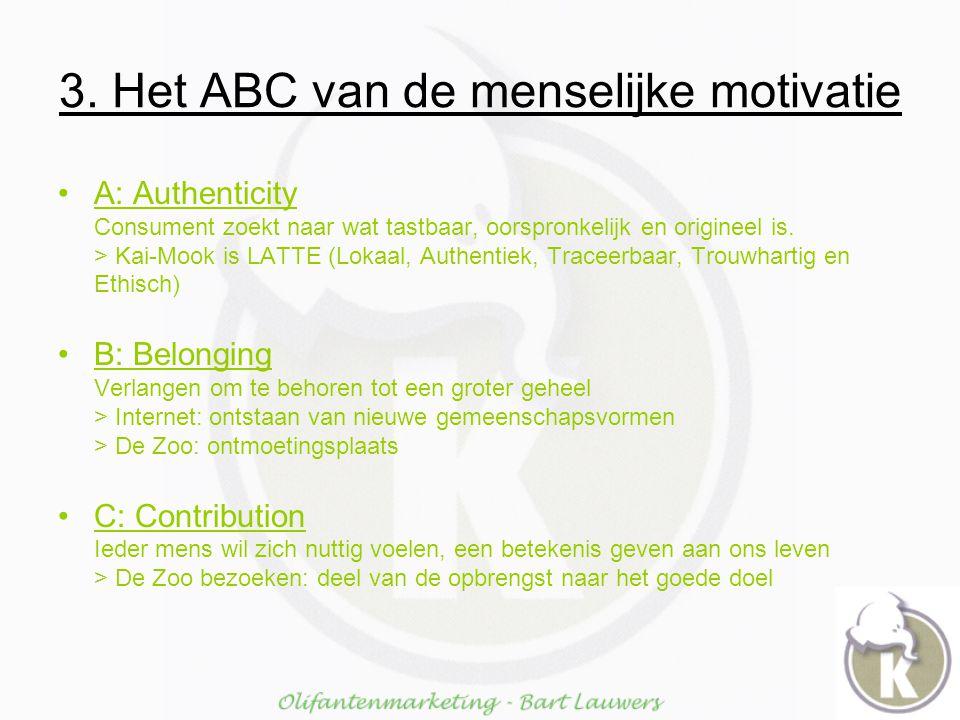 3. Het ABC van de menselijke motivatie A: Authenticity Consument zoekt naar wat tastbaar, oorspronkelijk en origineel is. > Kai-Mook is LATTE (Lokaal,