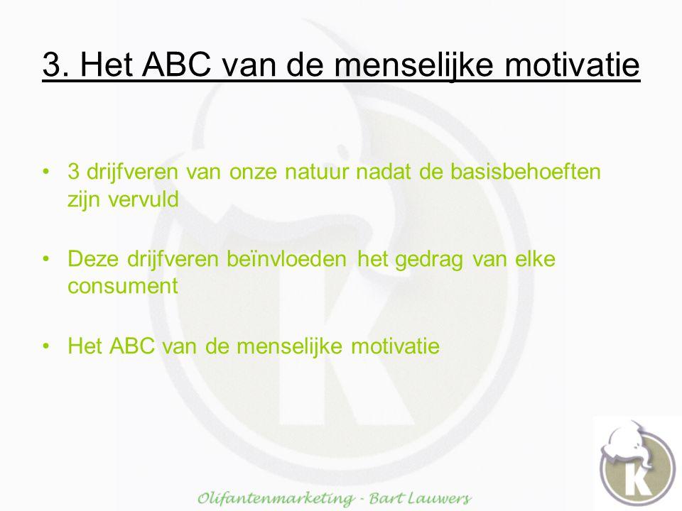 3. Het ABC van de menselijke motivatie 3 drijfveren van onze natuur nadat de basisbehoeften zijn vervuld Deze drijfveren beïnvloeden het gedrag van el