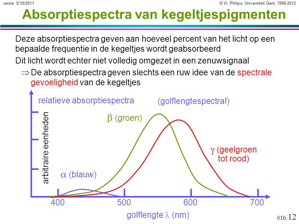 © W. Philips, Universiteit Gent, 1998-2012versie: 5/10/2011 01b. 12 Absorptiespectra van kegeltjespigmenten Deze absorptiespectra geven aan hoeveel pe