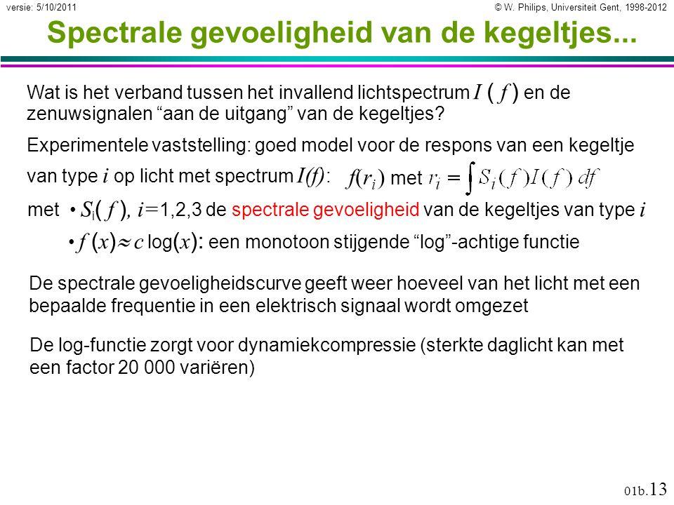 © W. Philips, Universiteit Gent, 1998-2012versie: 5/10/2011 01b. 13 Spectrale gevoeligheid van de kegeltjes... Wat is het verband tussen het invallend