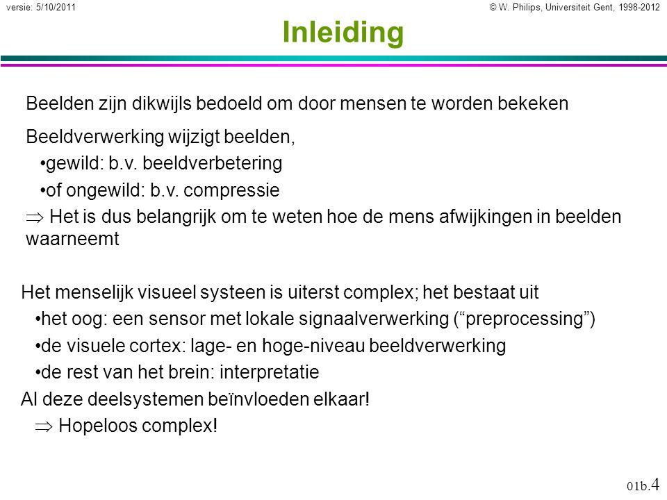 © W. Philips, Universiteit Gent, 1998-2012versie: 5/10/2011 01b. 4 Inleiding Beelden zijn dikwijls bedoeld om door mensen te worden bekeken Het mensel
