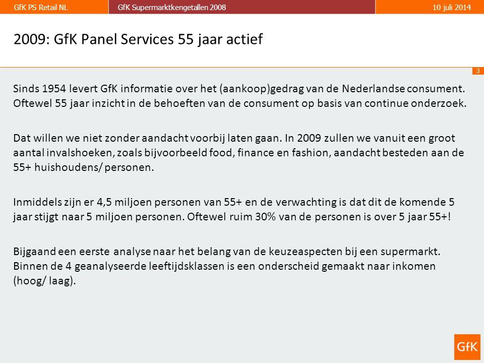 3 GfK PS Retail NLGfK Supermarktkengetallen 200810 juli 2014 2009: GfK Panel Services 55 jaar actief Sinds 1954 levert GfK informatie over het (aankoop)gedrag van de Nederlandse consument.