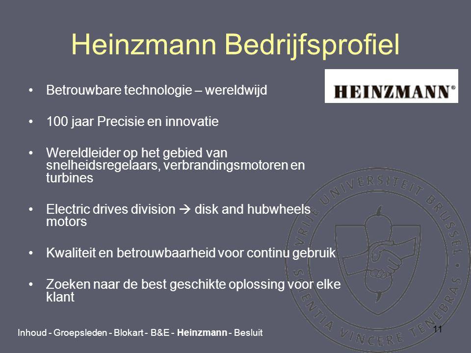 11 Heinzmann Bedrijfsprofiel Betrouwbare technologie – wereldwijd 100 jaar Precisie en innovatie Wereldleider op het gebied van snelheidsregelaars, verbrandingsmotoren en turbines Electric drives division  disk and hubwheels motors Kwaliteit en betrouwbaarheid voor continu gebruik Zoeken naar de best geschikte oplossing voor elke klant Inhoud - Groepsleden - Blokart - B&E - Heinzmann - Besluit