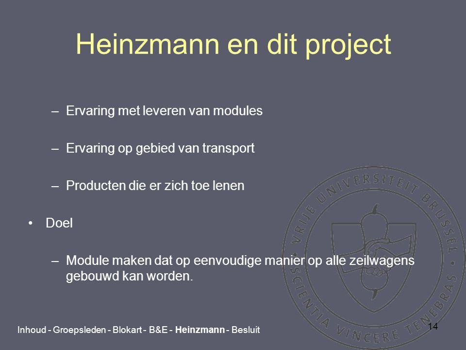 14 Heinzmann en dit project –Ervaring met leveren van modules –Ervaring op gebied van transport –Producten die er zich toe lenen Doel –Module maken dat op eenvoudige manier op alle zeilwagens gebouwd kan worden.