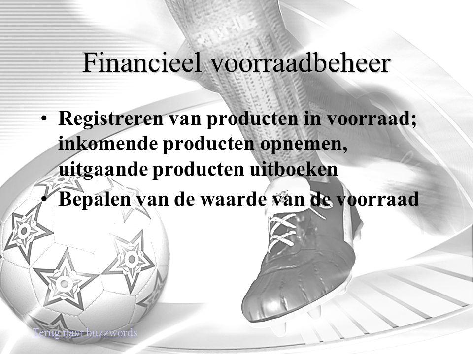 Financieel voorraadbeheer Registreren van producten in voorraad; inkomende producten opnemen, uitgaande producten uitboeken Bepalen van de waarde van de voorraad Terug naar buzzwords