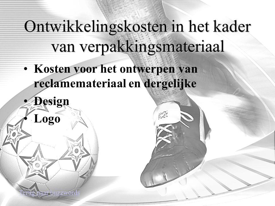 Ontwikkelingskosten in het kader van verpakkingsmateriaal Kosten voor het ontwerpen van reclamemateriaal en dergelijke Design Logo Terug naar buzzwords