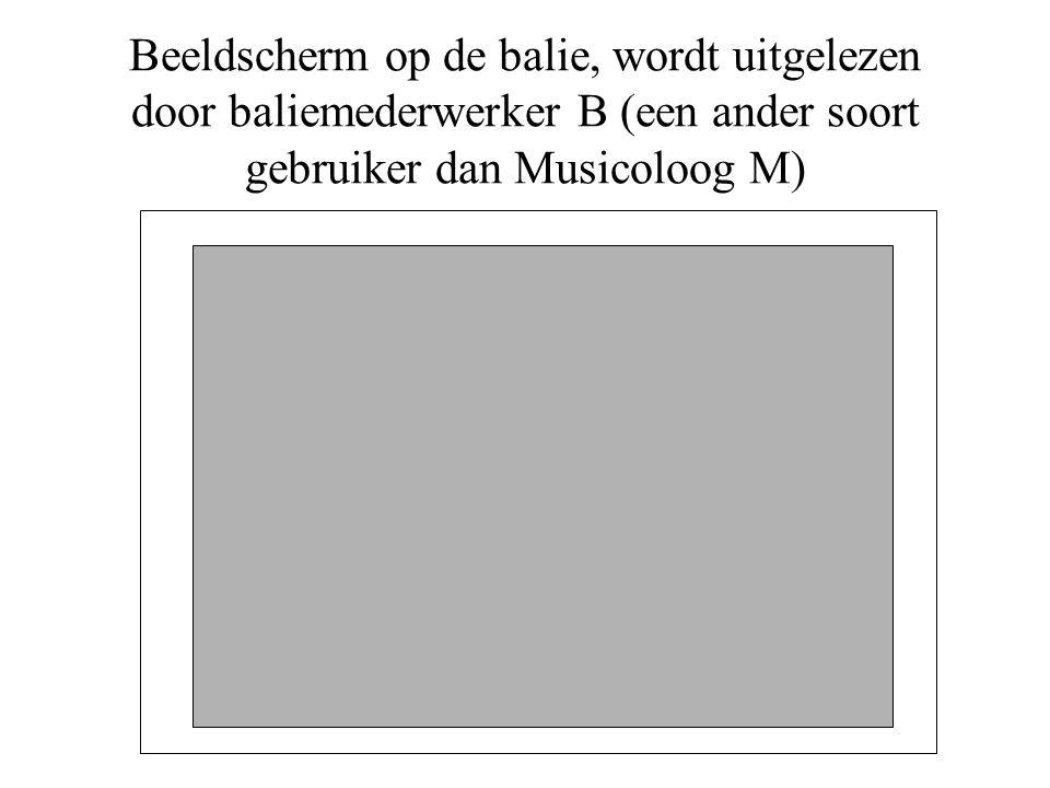 Beeldscherm op de balie, wordt uitgelezen door baliemederwerker B (een ander soort gebruiker dan Musicoloog M)