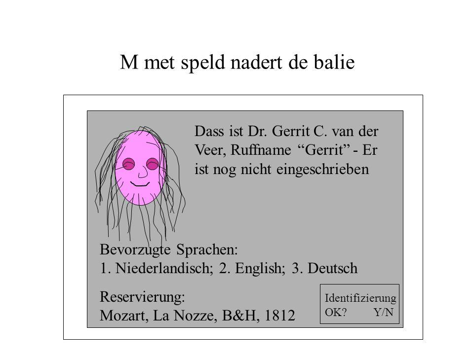 M met speld nadert de balie Dass ist Dr. Gerrit C.