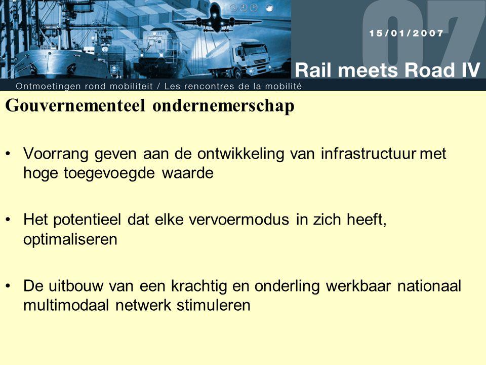 Gouvernementeel ondernemerschap Voorrang geven aan de ontwikkeling van infrastructuur met hoge toegevoegde waarde Het potentieel dat elke vervoermodus in zich heeft, optimaliseren De uitbouw van een krachtig en onderling werkbaar nationaal multimodaal netwerk stimuleren