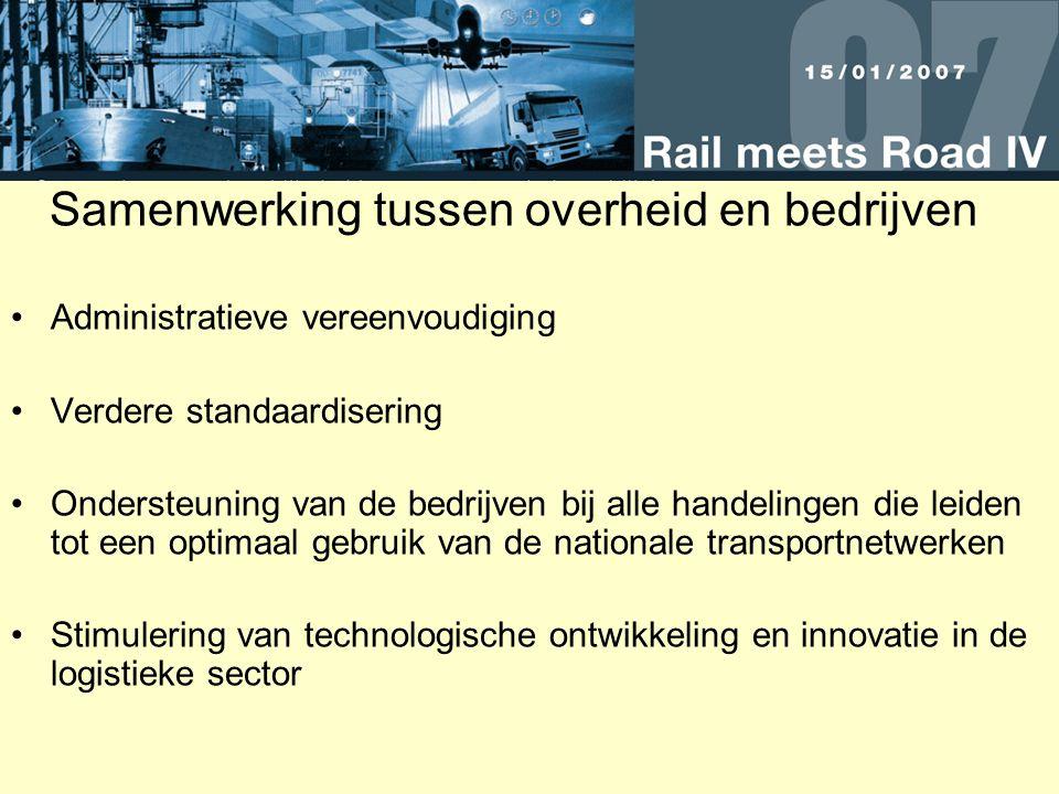 Samenwerking tussen overheid en bedrijven Administratieve vereenvoudiging Verdere standaardisering Ondersteuning van de bedrijven bij alle handelingen die leiden tot een optimaal gebruik van de nationale transportnetwerken Stimulering van technologische ontwikkeling en innovatie in de logistieke sector