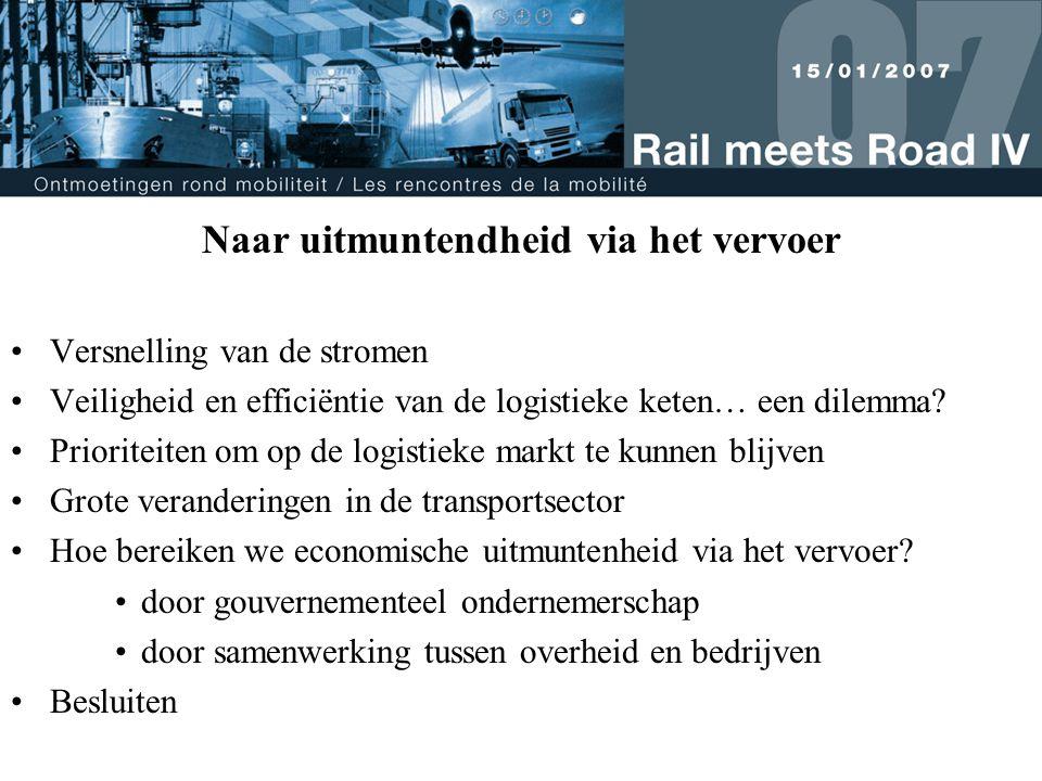Naar uitmuntendheid via het vervoer Versnelling van de stromen Veiligheid en efficiëntie van de logistieke keten… een dilemma.