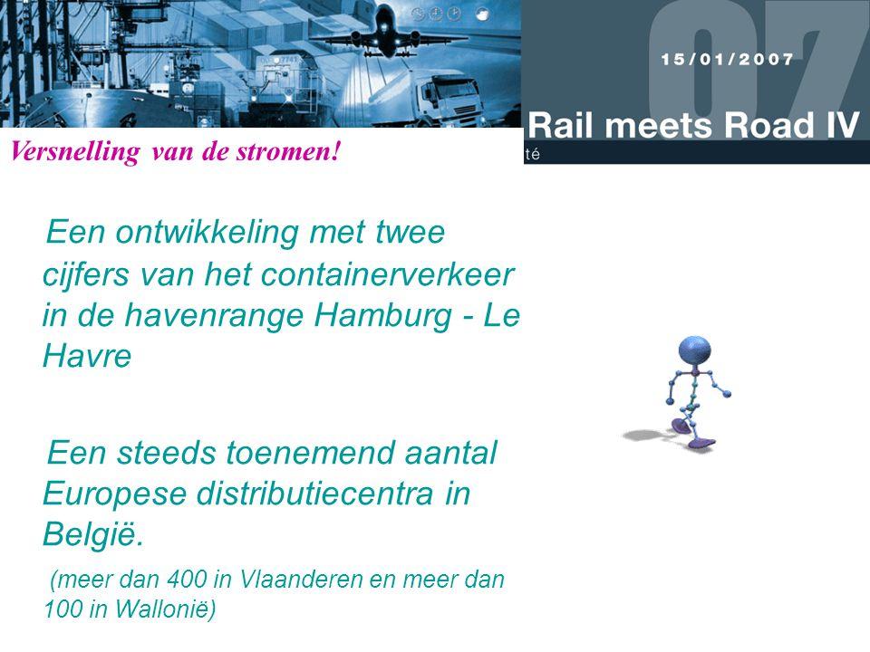 Een ontwikkeling met twee cijfers van het containerverkeer in de havenrange Hamburg - Le Havre Een steeds toenemend aantal Europese distributiecentra in België.