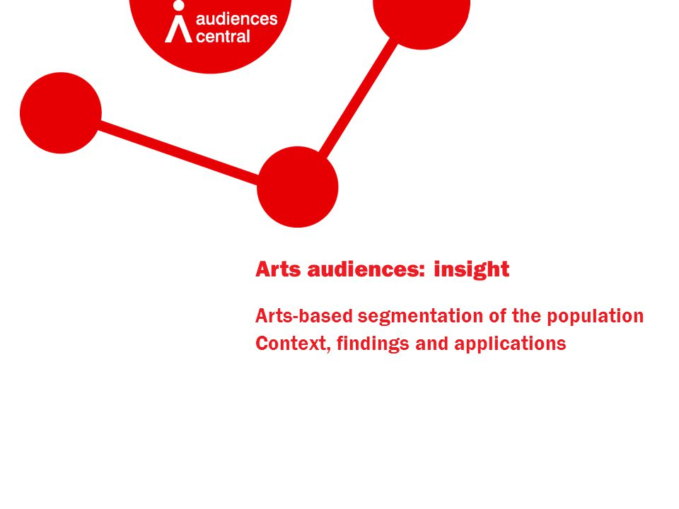 Arts audiences: insight Arts-based segmentation of the population Context, findings and applications