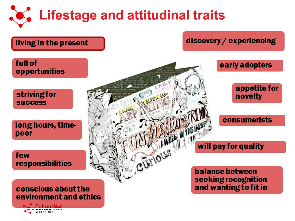 Lifestage and attitudinal traits discovery / experiencing long hours, time- poor consumerists striving for success full of opportunities few responsibilities will pay for quality appetite for novelty conscious about the environment and ethics balance between seeking recognition and wanting to fit in living in the present early adopters