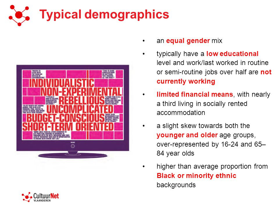 Typical demographics an equal gender mix typically have a low educational level and work/last worked in routine or semi-routine jobs over half are not currently working limited financial means, with nearly a third living in socially rented accommodation a slight skew towards both the younger and older age groups, over-represented by 16-24 and 65– 84 year olds higher than average proportion from Black or minority ethnic backgrounds