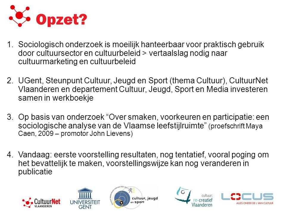 Opzet? 1.Sociologisch onderzoek is moeilijk hanteerbaar voor praktisch gebruik door cultuursector en cultuurbeleid > vertaalslag nodig naar cultuurmar