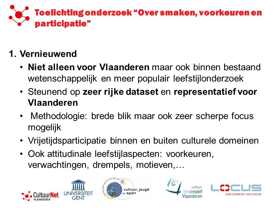 1.Vernieuwend Niet alleen voor Vlaanderen maar ook binnen bestaand wetenschappelijk en meer populair leefstijlonderzoek Steunend op zeer rijke dataset