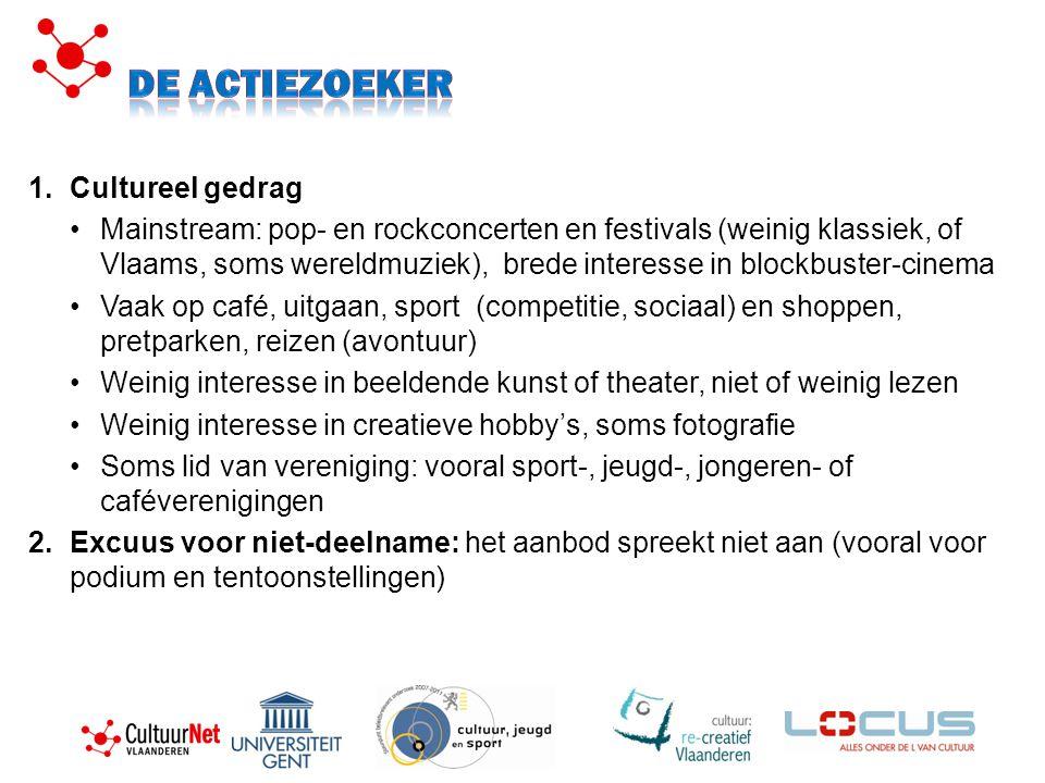 1.Cultureel gedrag Mainstream: pop- en rockconcerten en festivals (weinig klassiek, of Vlaams, soms wereldmuziek), brede interesse in blockbuster-cine