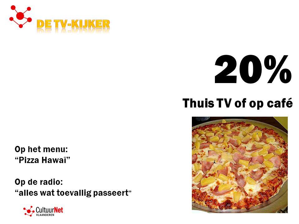 20% Thuis TV of op café Op het menu: Pizza Hawaï Op de radio: alles wat toevallig passeert