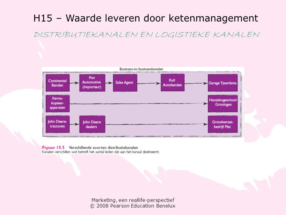 Marketing, een reallife-perspectief © 2008 Pearson Education Benelux H15 – Waarde leveren door ketenmanagement DISTRIBUTIEKANALEN EN LOGISTIEKE KANALEN Kanaalstrategie plannen Stap 1: distributiedoelstellingen ontwikkelen Stap 2: interne en externe omgevingsinvloeden evalueren Stap 3: een distributiestrategie kiezen conventioneel, verticaal of horizontaal marketingsysteem.