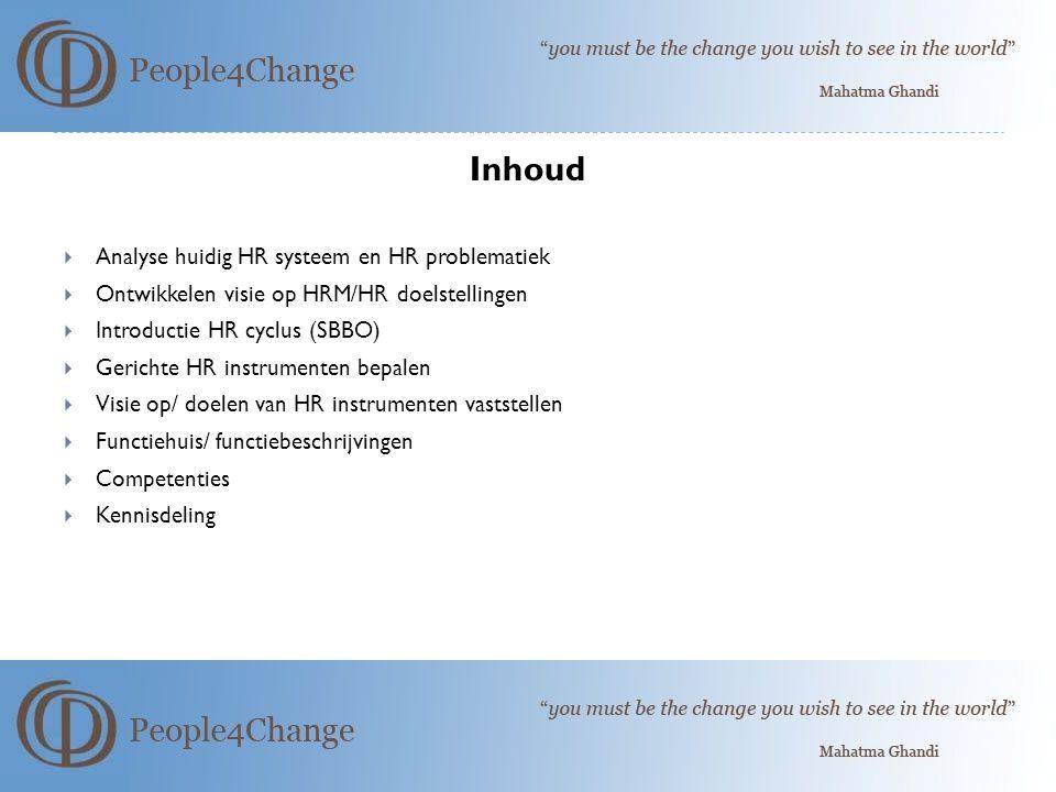 Inhoud  Analyse huidig HR systeem en HR problematiek  Ontwikkelen visie op HRM/HR doelstellingen  Introductie HR cyclus (SBBO)  Gerichte HR instrumenten bepalen  Visie op/ doelen van HR instrumenten vaststellen  Functiehuis/ functiebeschrijvingen  Competenties  Kennisdeling