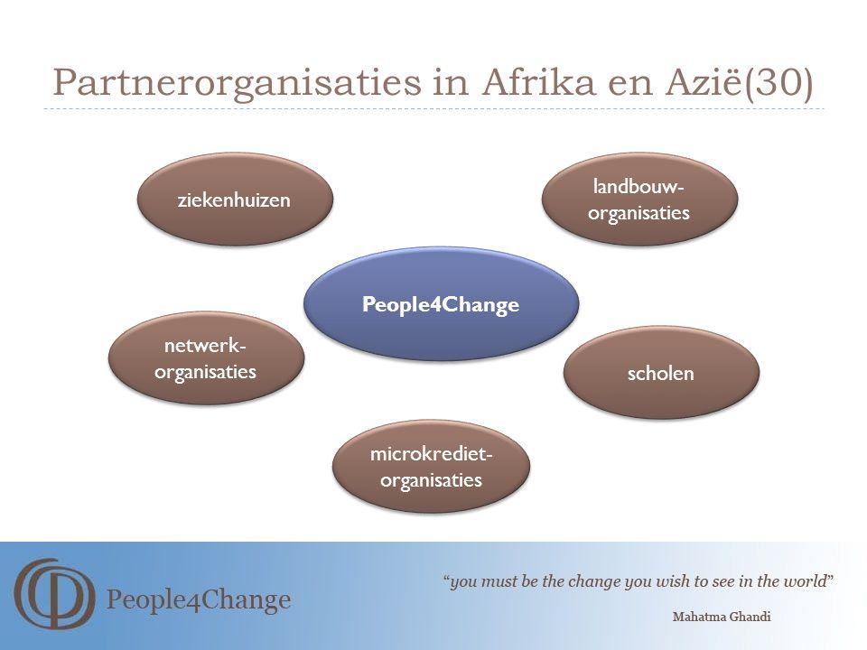 Partnerorganisaties in Afrika en Azië(30) People4Change ziekenhuizen netwerk- organisaties scholen microkrediet- organisaties landbouw- organisaties
