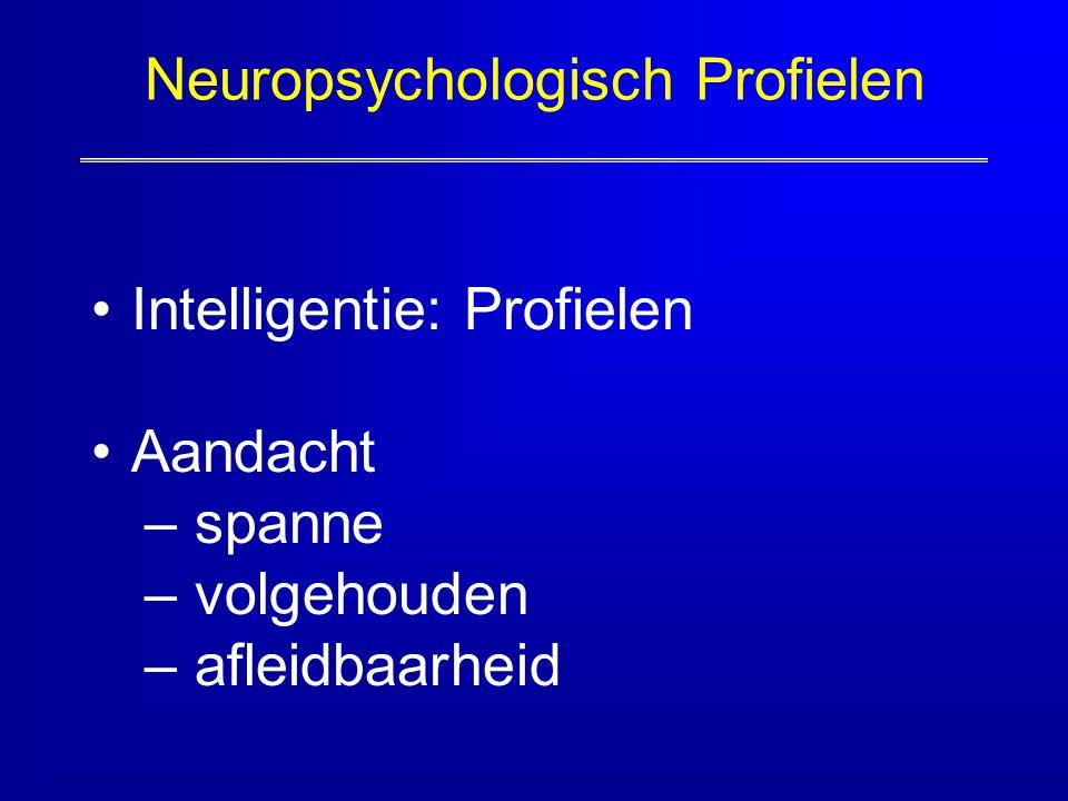 Neuropsychologisch Profielen Intelligentie: Profielen Aandacht – spanne – volgehouden – afleidbaarheid