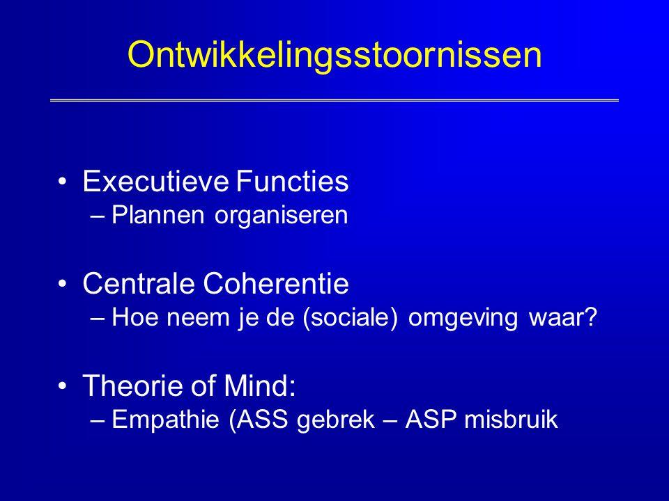 Ontwikkelingsstoornissen Executieve Functies –Plannen organiseren Centrale Coherentie –Hoe neem je de (sociale) omgeving waar? Theorie of Mind: –Empat