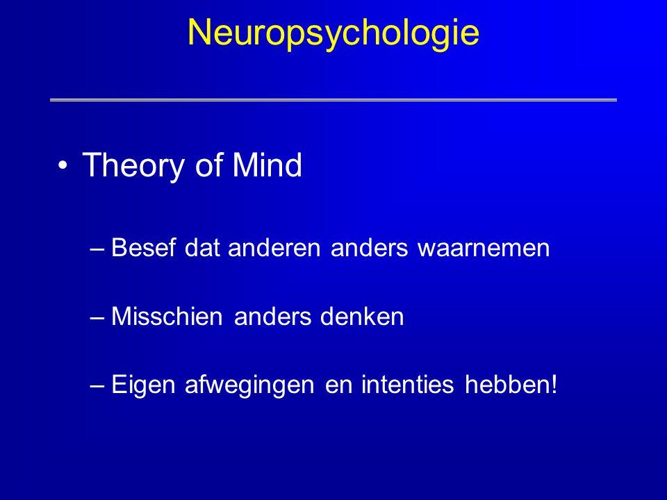 Neuropsychologie Theory of Mind –Besef dat anderen anders waarnemen –Misschien anders denken –Eigen afwegingen en intenties hebben!