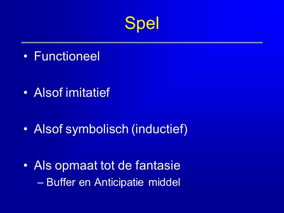 Spel Functioneel Alsof imitatief Alsof symbolisch (inductief) Als opmaat tot de fantasie –Buffer en Anticipatie middel