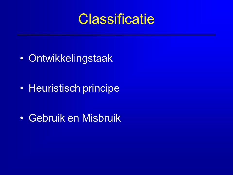 Classificatie Ontwikkelingstaak Heuristisch principe Gebruik en Misbruik
