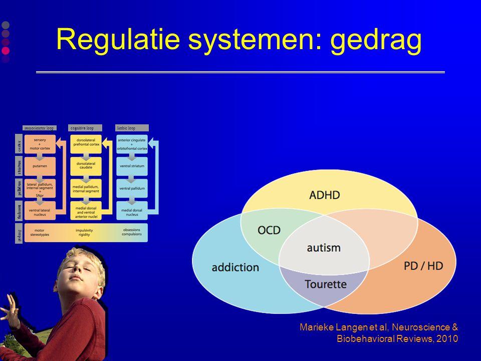 Regulatie systemen: gedrag Marieke Langen et al, Neuroscience & Biobehavioral Reviews, 2010 gedrag sensorimotor loop cognitive looplimbic loop thalamu