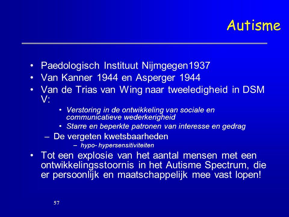 Autisme Paedologisch Instituut Nijmgegen1937 Van Kanner 1944 en Asperger 1944 Van de Trias van Wing naar tweeledigheid in DSM V: Verstoring in de ontw