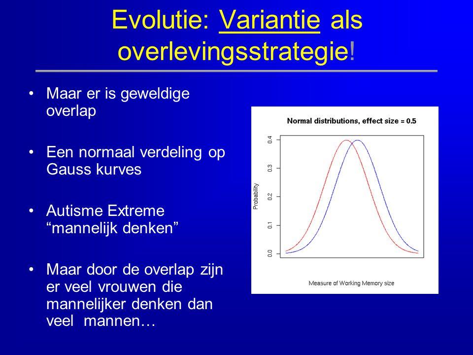 """Evolutie: Variantie als overlevingsstrategie! Maar er is geweldige overlap Een normaal verdeling op Gauss kurves Autisme Extreme """"mannelijk denken"""" Ma"""