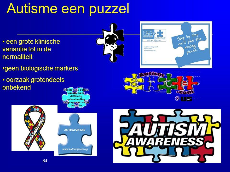 64 een grote klinische variantie tot in de normaliteit geen biologische markers oorzaak grotendeels onbekend Autisme een puzzel