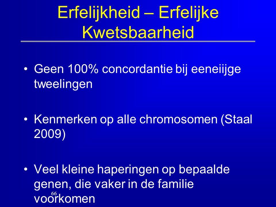 Erfelijkheid – Erfelijke Kwetsbaarheid Geen 100% concordantie bij eeneiijge tweelingen Kenmerken op alle chromosomen (Staal 2009) Veel kleine hapering