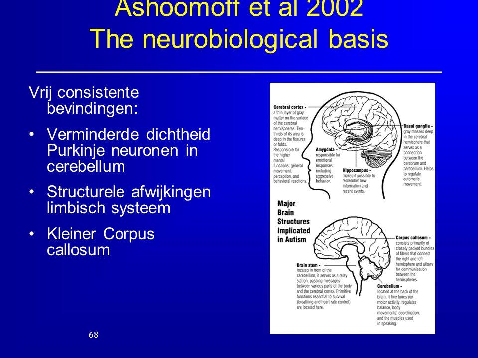68 Ashoomoff et al 2002 The neurobiological basis Vrij consistente bevindingen: Verminderde dichtheid Purkinje neuronen in cerebellum Structurele afwi