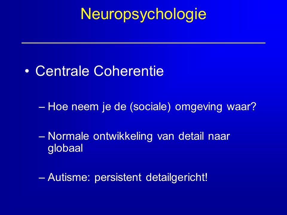 Neuropsychologie Centrale Coherentie –Hoe neem je de (sociale) omgeving waar? –Normale ontwikkeling van detail naar globaal –Autisme: persistent detai