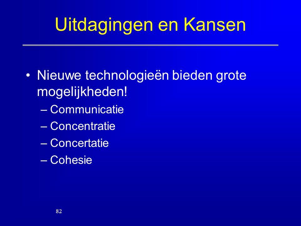 Uitdagingen en Kansen Nieuwe technologieën bieden grote mogelijkheden! –Communicatie –Concentratie –Concertatie –Cohesie 82