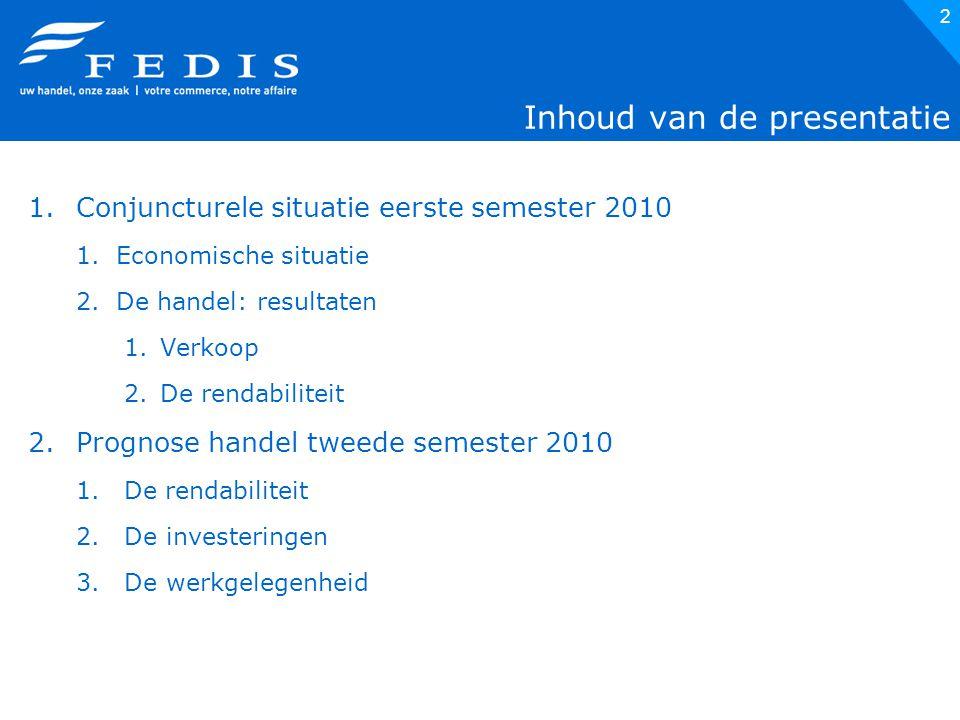 13 17% v/d handelaars heeft rendabiliteit zien stijgen in het eerste semester 2010 Bron: Fedis-enquête
